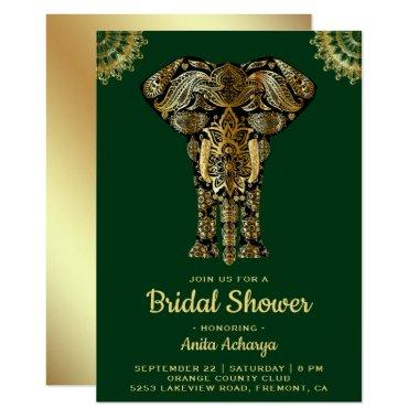 Green Gold Elephant Indian Bridal Shower Invite