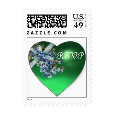 GREEN HEART & FORGET ME NOTS WEDDING PARTY RSVP POSTAGE
