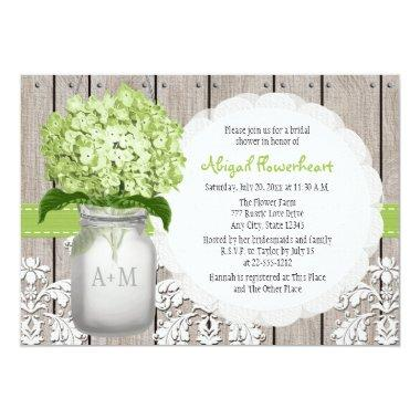 Green Hydrangea Monogram Mason Jar Bridal Shower Invitations