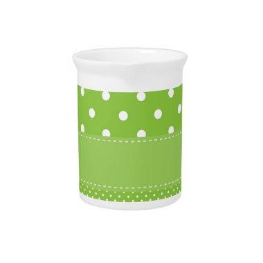 Green Polka Dots Delicate Bridal or Baby Shower Drink Pitcher