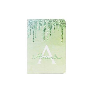 Green Sparkle Glitter Monogram Name Passport Holder