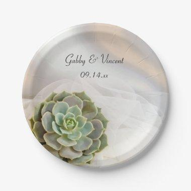 Green Succulent on White Wedding Paper Plate