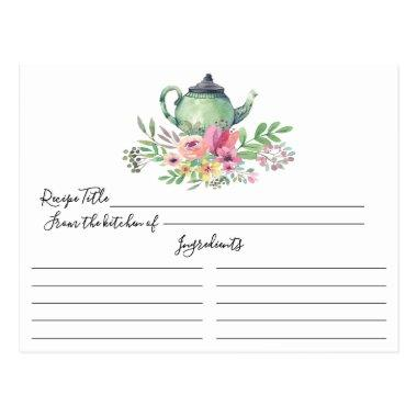 Green Tea Pot Floral Recipe Invitations