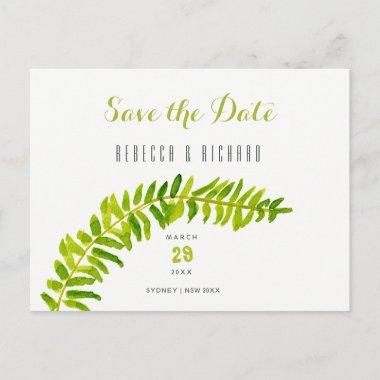 GREEN WATERCOLOUR FERN FOLIAGE Save the date Announcement PostInvitations
