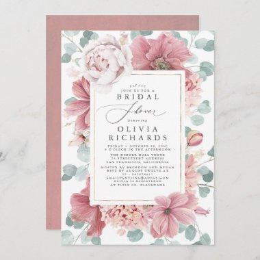Greenery and Dusty Rose Floral Bridal Shower Invitations