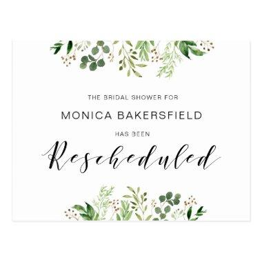 Greenery, Black font, Bridal Shower Reschedule PostInvitations