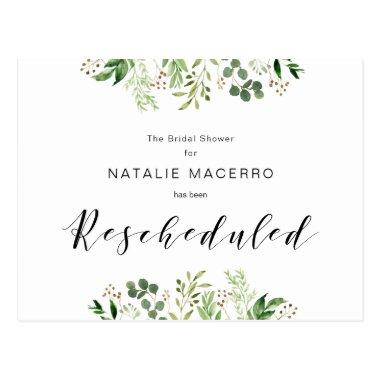 Greenery, Black, Modern Bridal Shower Rescheduled PostInvitations