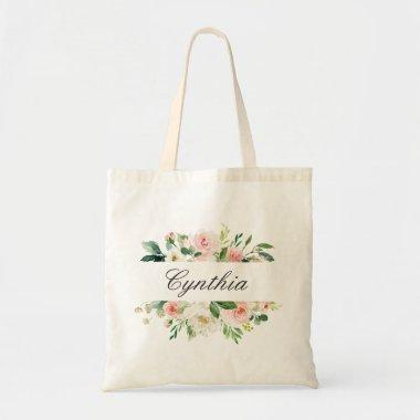 Greenery Blush Pink Watercolor Floral Bridesmaid Tote Bag