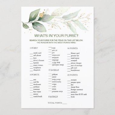 Greenery Bridal Purse game/Wedding Scramble Invitations