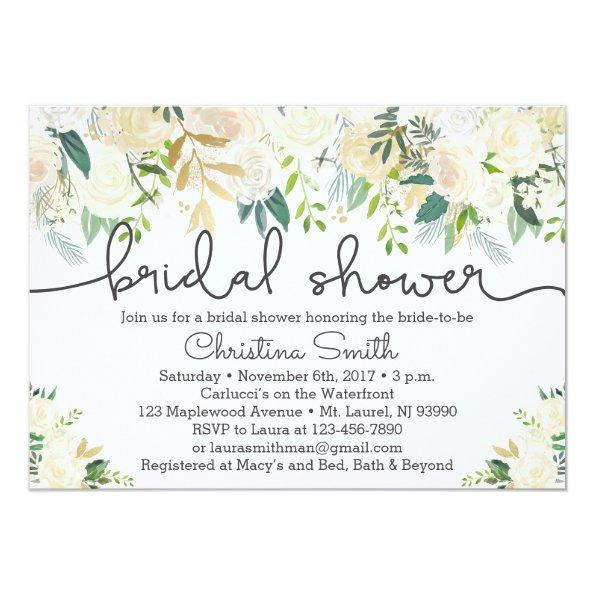 Greenery Bridal Shower Invitations w Ivory Accents