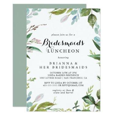 Greenery Calligraphy Bridesmaids Luncheon Shower Invitations