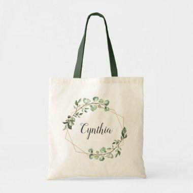 Greenery Eucalyptus Geometric Frame Bridesmaid Tote Bag