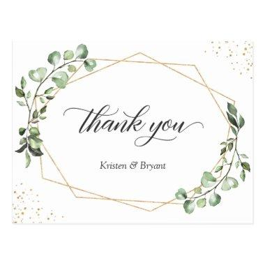 Greenery Eucalyptus Geometric Gold Frame Thank You PostInvitations