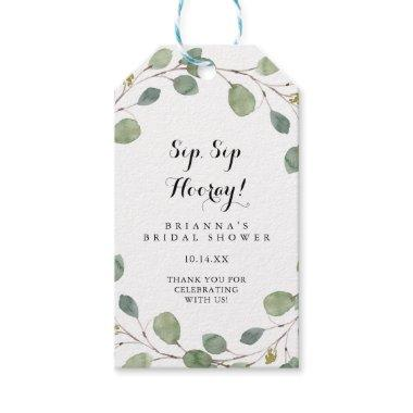 Greenery Eucalyptus Sip Sip Hooray Bridal Shower Gift Tags