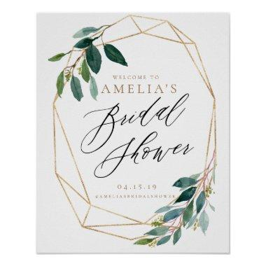 Greenery Floral Bridal Shower Welcome Sign