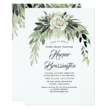 Greenery Garland Elegant Vintage Bridal Shower Invitations