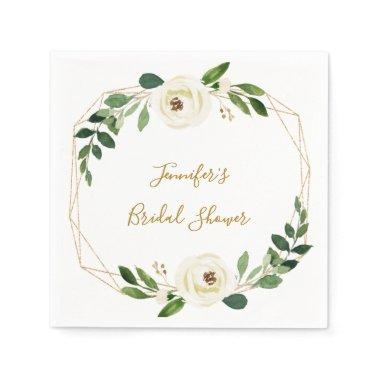 Greenery Geometric Floral Bridal Shower Napkins