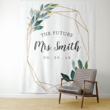 Greenery Gold Bridal Shower Backdrop Photo Booth