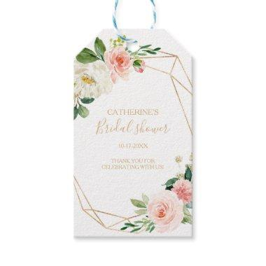 Greenery & Gold Geometric Elegant Bridal Shower Gift Tags