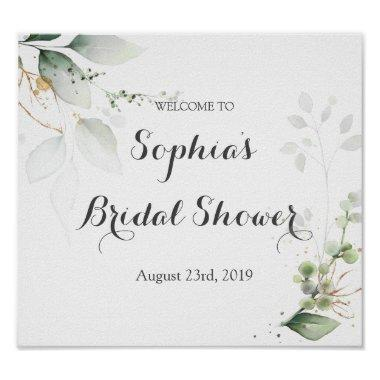 Greenery Gold Leaves Bridal Shower Welcome Sign