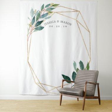 Greenery Gold Wedding Backdrop Photo Booth