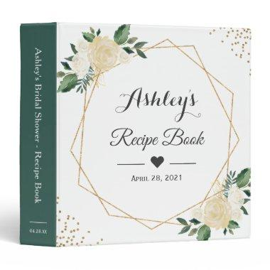 Greenery Ivory White Floral Bridal Shower Recipe 3 Ring Binder