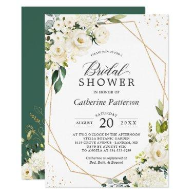 Greenery White Floral Gold Geometric Bridal Shower Invitations
