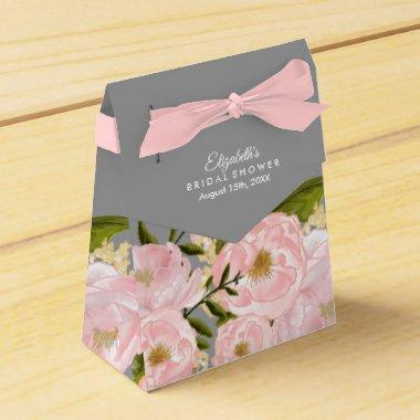 Grey |Blush Pink Peonies  Favor Boxes