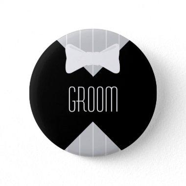 Groom Bowtie & Stripes Pinback Button