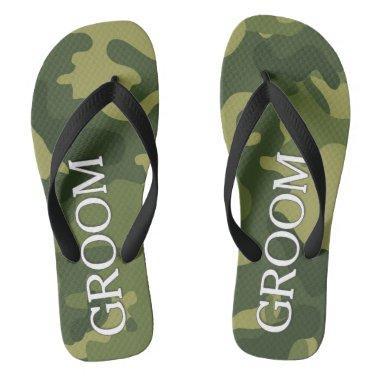 Groom with Green Camoflauge Pattern Flip Flops
