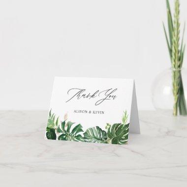 Hand Drawn Watercolor Tropical Palm Leaves Thank You Invitations