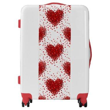 happy valentines day hearts luggage