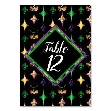 Harlequins Beads Mask Fleur de Lis Mardi Gras Table Number