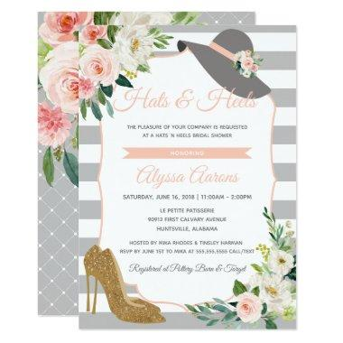 Hats & Heels Derby Bridal Shower Floral Invitations