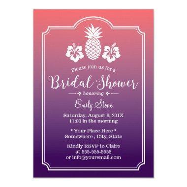 Hawaiian Pineapple Hibiscus Floral Bridal Shower Invitations