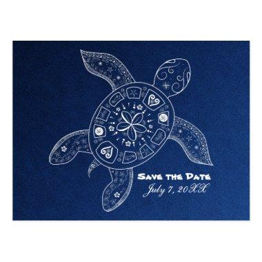 Hawaiian Sea Turtle White Blue Beach Save The Date Post
