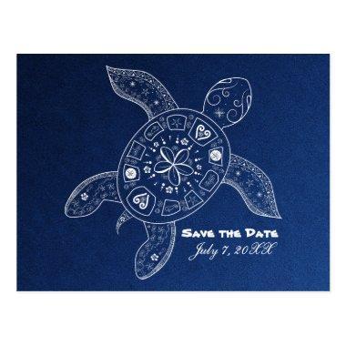 Hawaiian Sea Turtle White Blue Beach Save The Date Post