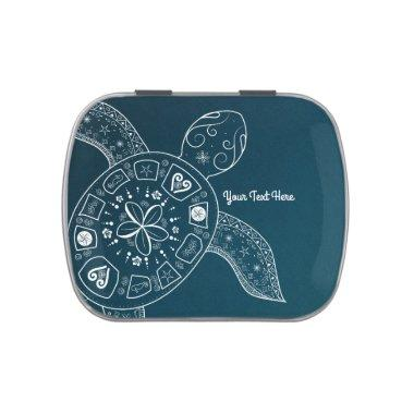 Hawaiian Sea Turtle White on Teal Beach Tropical Jelly Belly Candy Tin