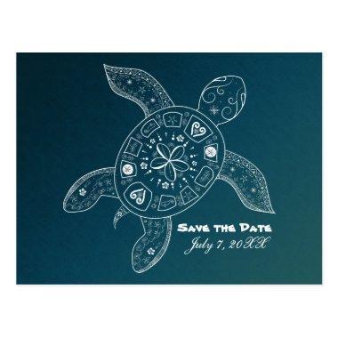 Hawaiian Sea Turtle White Teal Beach Save The Date Post