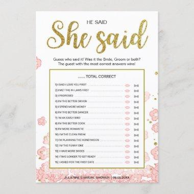 He Said She Said Bridal Shower Game | Gold and Pin
