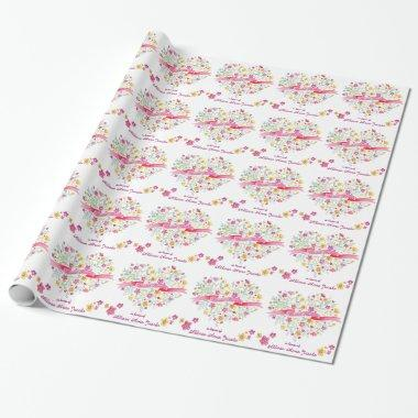 heart bouquet flowers custom bridal shower wrap wrapping paper