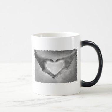 Heart Hands B&W Photo Magic Mug
