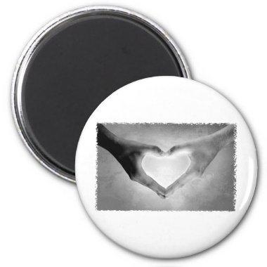 Heart Hands B&W Photo Magnet