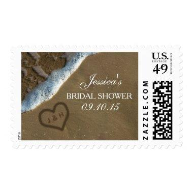 Heart In The Sand Beach  Postage
