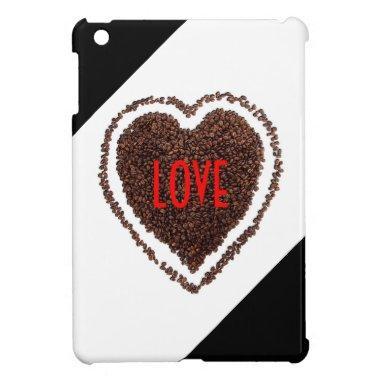 Heart Love Cute Humor Coffee-Lover Black and White iPad Mini Cover