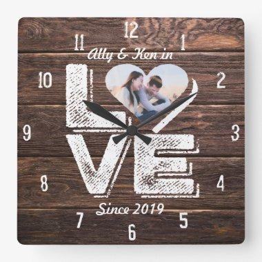 Heart Photo Frame Love Rustic Woodland Monogram Square Wall Clock