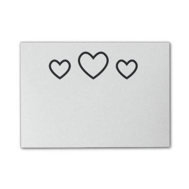 Hearts Black And White Love Post-it Notes