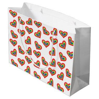 Hearts gift bag with rainbows