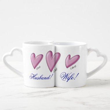 Hearts Husband Wife, Bride Groom, Lovers' Mug Set.