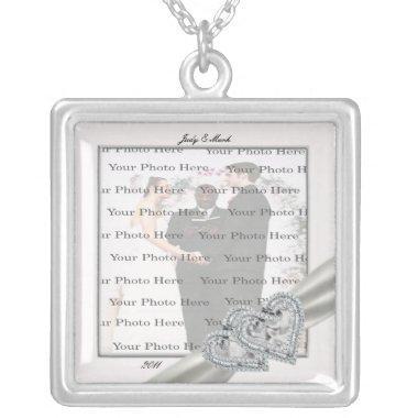Hearts White Wedding Square Silver Necklace